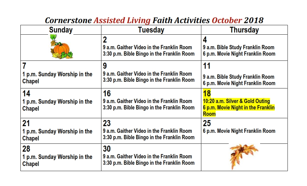 October Cornerstone Assisted Living Faith Activities 2018_001