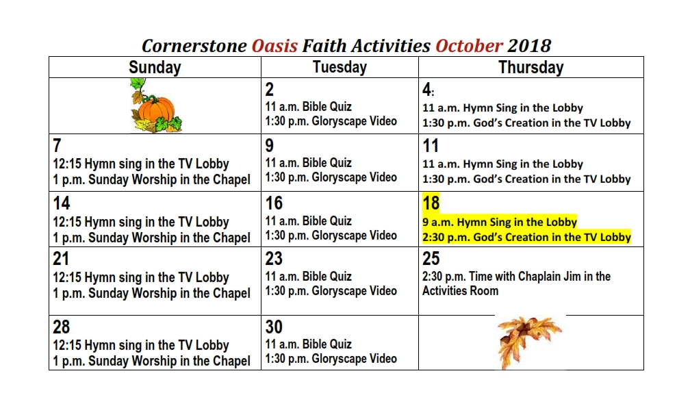 October Cornerstone Assisted Living Faith Activities 2018_002