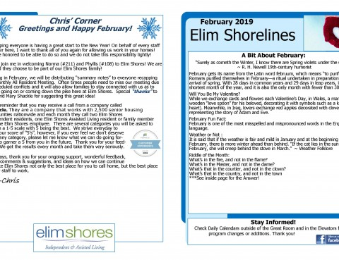 page 1 February 2019 Newsletter Elim Shores 1
